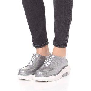 NWB! Melissa silver glitter pvc gel sneakers 8